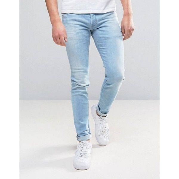 Diesel Sleenker Skinny Jean 084EB Light Wash (€165) ❤ liked on Polyvore featuring men's fashion, men's clothing, men's jeans, blue, mens skinny fit jeans, mens super skinny jeans, mens blue skinny jeans, mens skinny jeans and mens light wash skinny jeans