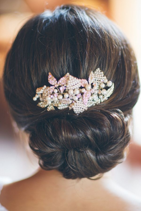 Wedding Hairstyle Ideas with a Jeweled Comb | Kane and Social Photography on @bellemagazine via @aislesociety
