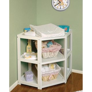 @Overstock.com - Badger Basket White Diaper Corner Changing Table - The Diaper Corner offers an innovative and unique angle on changing tablesChanging table lets you capitalize on corner space in the babys nurseryLets you change your infant with their feet pointing toward you  http://www.overstock.com/Baby/Badger-Basket-White-Diaper-Corner-Changing-Table/4104019/product.html?CID=214117 $113.79