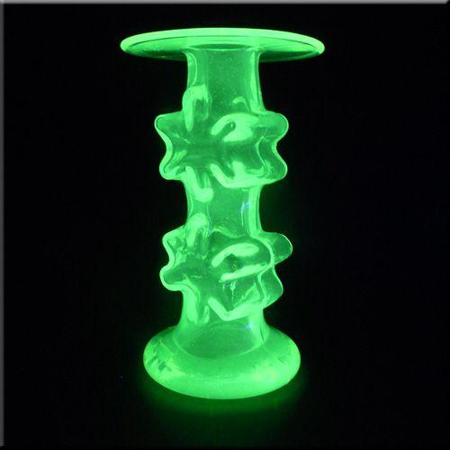 Riihimäen Lasi Oy / Riihimaki uranium glass 'Kasperi' candlestick holder by Erkkitapio Siiroinen, design number 1966.
