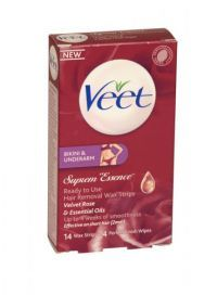 £1.99 - Veet Bikini And Underarm Strips 14 Wax Strips + 4 Perfect Finish Wipes Suprem Essencee - Ready to Use - Velvet Rose and Essential Oils