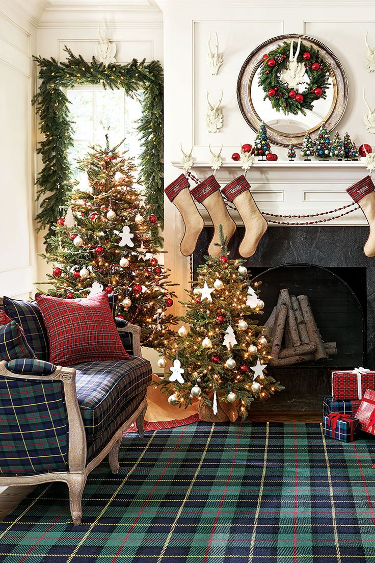 All over plaid on the rug, sofa, and ribbon