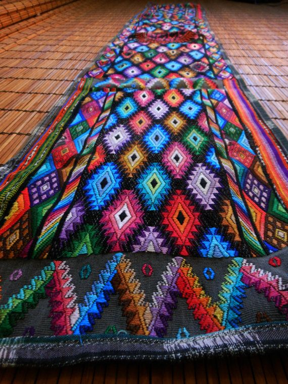 Mayan textile art Guatemalan table runner upcycled by CultureCross