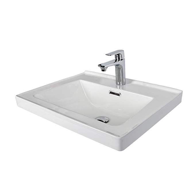 Rectangle White Ceramic Undermount Vessel Vanity Sink