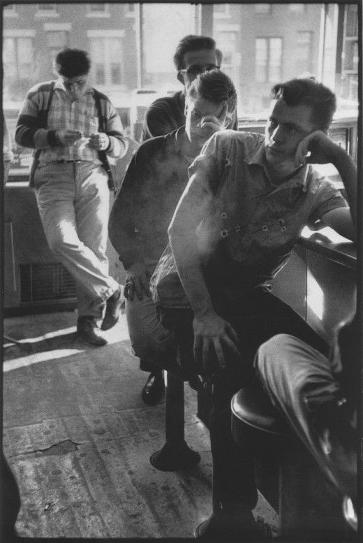 """""""Bruce Davidson's 1959 project Brooklyn Gang is an intimate photographic study of a rebellious Brooklyn teenage gang, who called themselves The Jokers."""