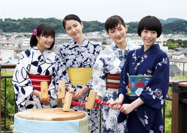 "Suzu Hirose, Masami Nagasawa, Haruka Ayase, Kaho, Kentaro Sakaguchi. J live-action movie ""Umimachi diary (lit. Sea town diary) / Our little sister"". Release on Jun. 13, 2015 Plot(Eng.): http://asianwiki.com/Our_Little_Sister [Trailer 1] https://www.youtube.com/watch?v=le-RX7x2BUg [Trailer 2] https://www.youtube.com/watch?v=KMEZfB08zUI"