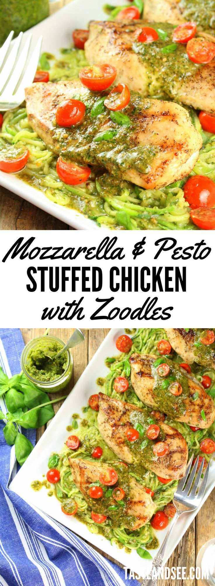 Mozzarella and Pesto Stuffed Chicken with Zoodles - with smoky homemade pesto, boneless skinless chicken breasts, and zucchini noodles.  Delicious & healthy!  http://tasteandsee.com