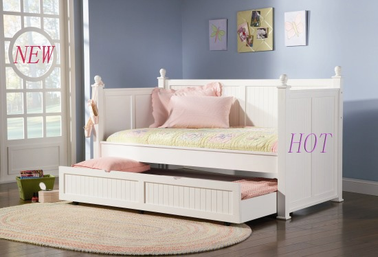 Coaster White Wooden Girls Kids Twin Pull out Day Bed with Trundle