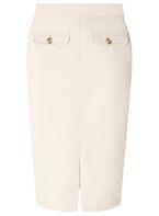 Womens Stone Chino Midi Skirt- White