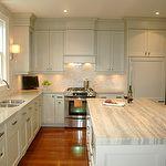Style de Vie Design - kitchens - gray, green, kitchen cabinets, marble tiles, backspalsh, silver, gray, quartzite, stone, countertops, white, kitchen island,