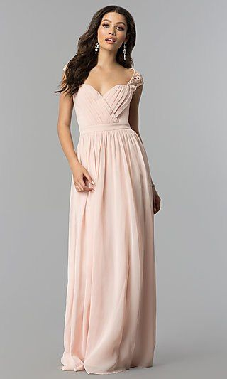 c0c08ebc8c3 Long Cap-Sleeve Prom Dress with Lace Embellishments | Prom | Prom ...