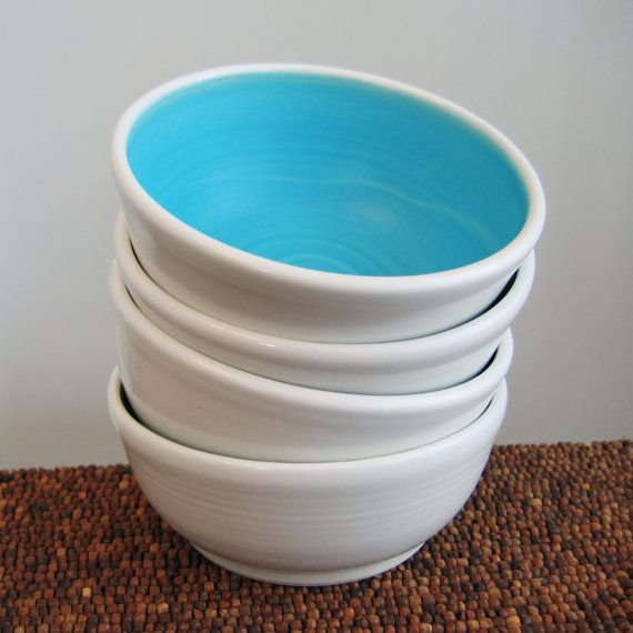 Ceramic Soup or Cereal Bowls in Turquoise Blue - Set of 4 Pottery Bowls on Etsy, $84.00
