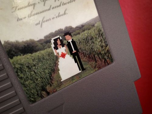 Get nostalgic over these custom 8 bit NES cartridge wedding invites by 72 pins. They are meant to be modern art with a nostalgic twist, and not actual remade games although the cart's original game is intact. The game inside is whatever original NES title the donor cart had in it so you could be playing Super Mario Bros with your invite, that is if you still have a NES system.