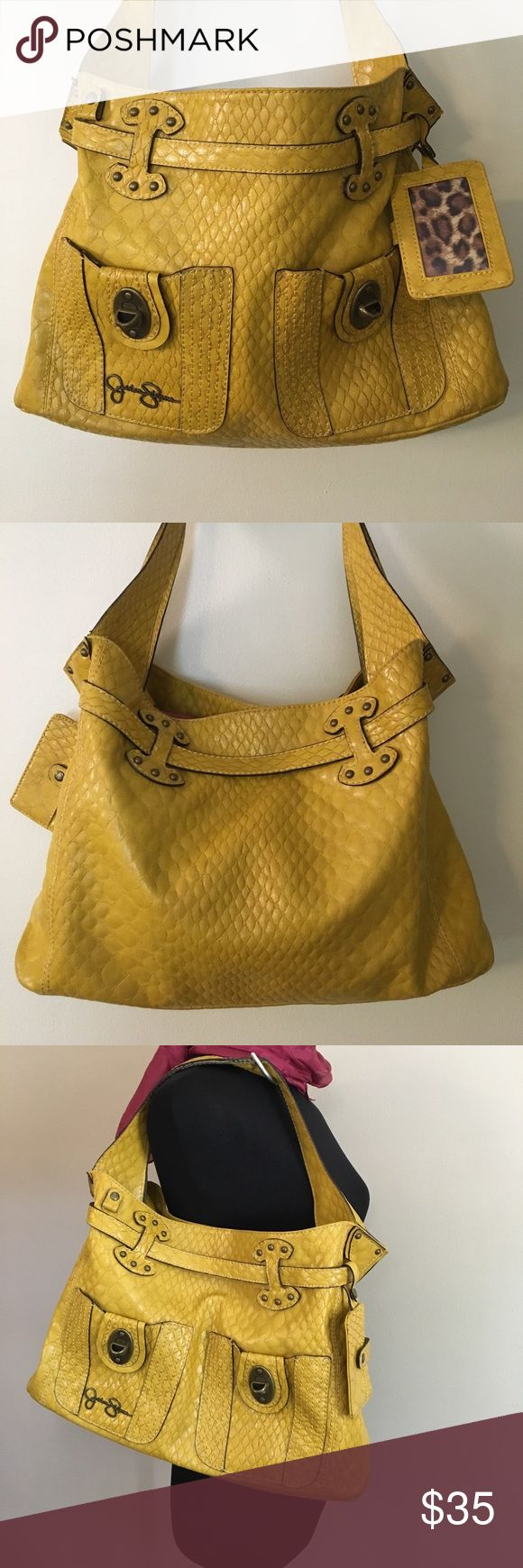 "Jessica Simpson Faux Python Yellow Hobo! Big fun! Unique Jessica Simpson hobo bag. Base 16"" x 4""; H 11"". Strap to top 9"". Leopard print inside, so cute and clean clean clean! You'll love it. 💛🐊💛 Jessica Simpson Bags Shoulder Bags"