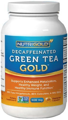 #1 Green Tea Extract - Green Tea GOLD, 500 mg, 120 Vegetarian Capsules - Decaffeinated Green Tea Fat Burner Supplement for Weight-loss (98% Polyphenols, 50% EGCG) by Nutrigold, http://www.amazon.com/dp/B0055CK0OE/ref=cm_sw_r_pi_dp_P6jTrb0R4Z5RT