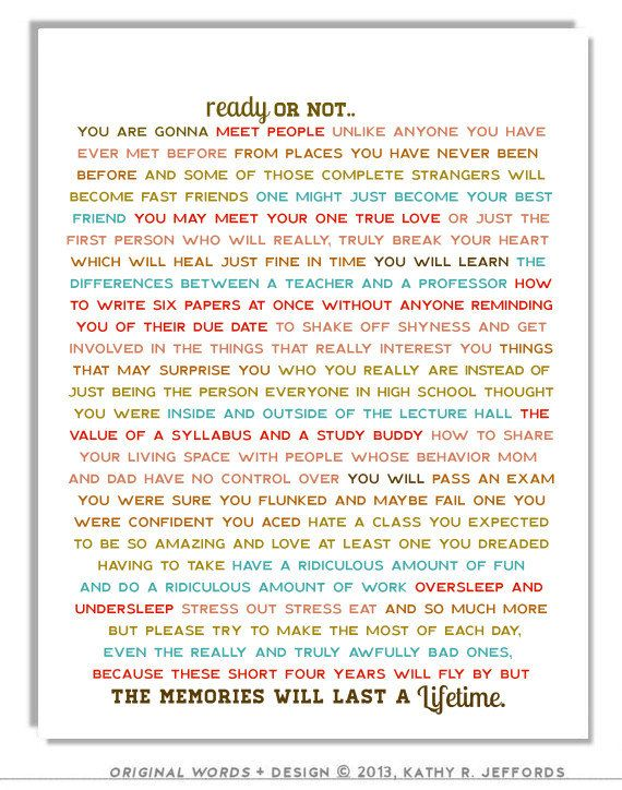 Ready Or Not Typographic Print. Dorm Room Art. by thedreamygiraffe.  This is awesome for a high school grad.
