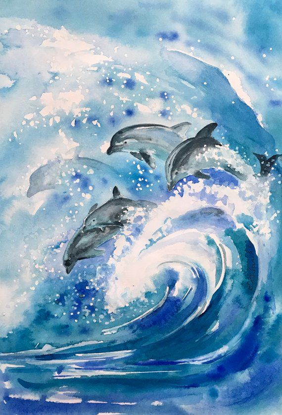 Watercolor Painting Abstract Dolphins Painting Seascape Watercolor Painting Abstractart Dolph Dolphin Painting Dolphin Art Watercolor Paintings Abstract