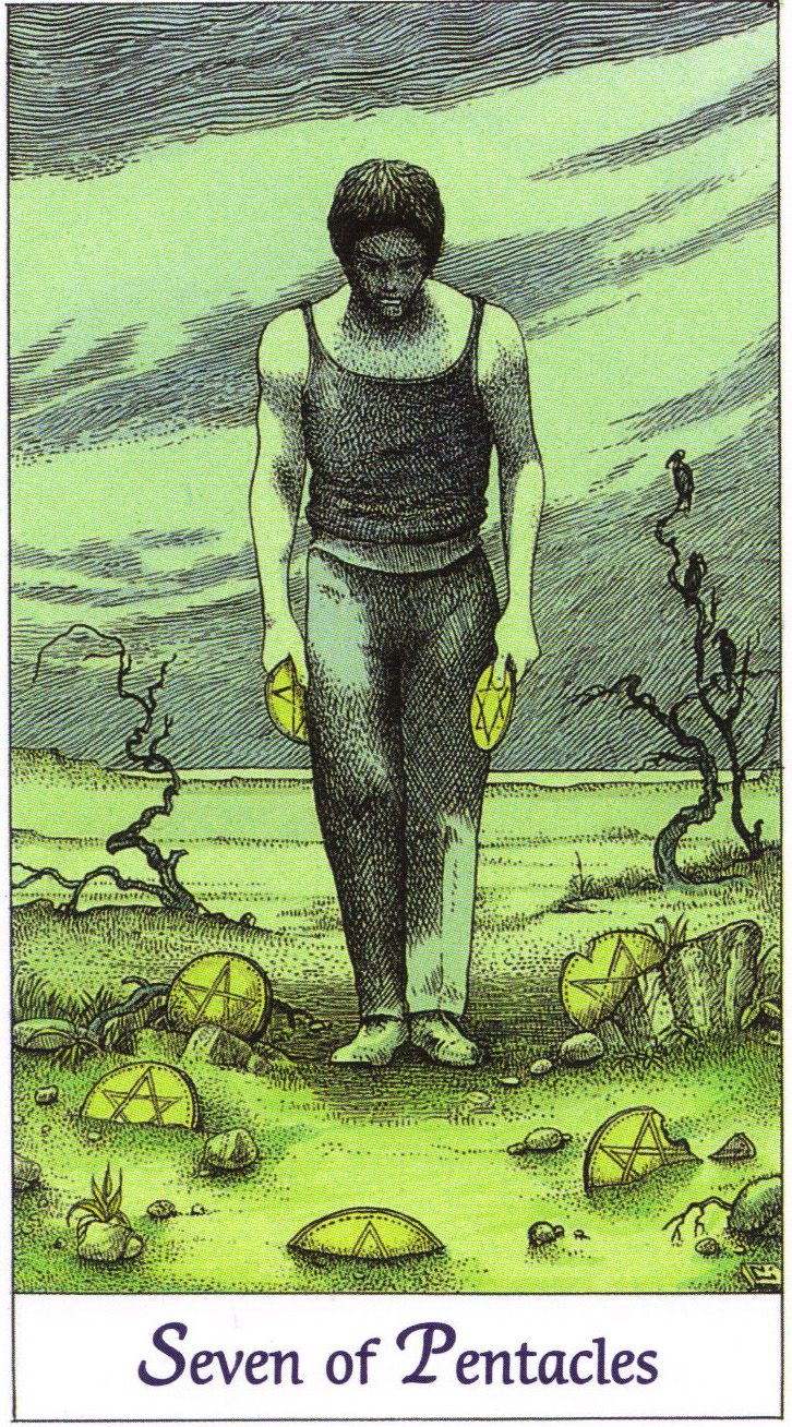 Seven of Pentacles | Cosmic Tarot by Norbert Lösche | A depressed man walks through a somber region. Meaning: inventiveness, own points of view, good business. Reversed: failure, bad business, hard work - little success and hazardous speculation.