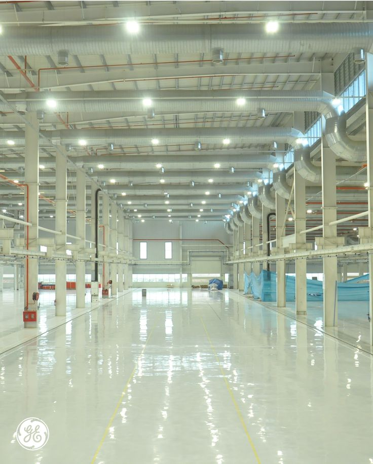 Ges pune india facility installed energy efficient led high bay lighting fixtures