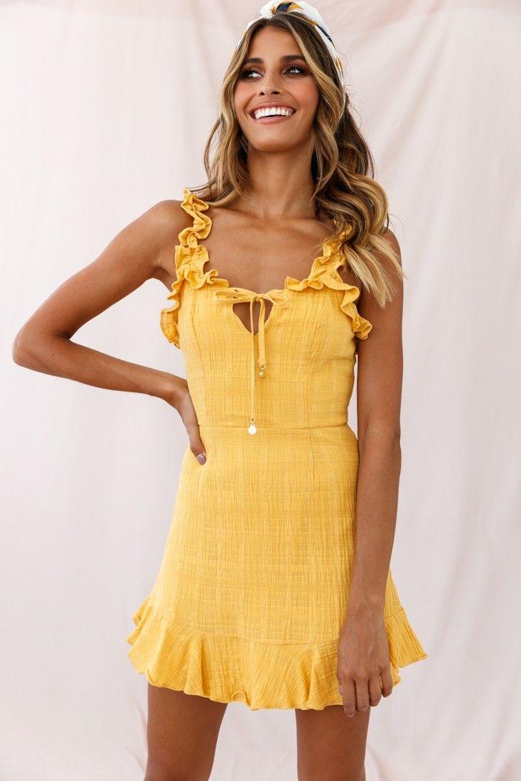Elah Frily Mini Dress Yellow Mini Dress Yellow Dress Casual Day Dresses [ 1099 x 733 Pixel ]