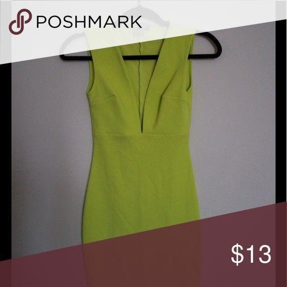 Neon yellow dress Deep v bodycon dress. U.K. 4 ASOS Dresses Mini