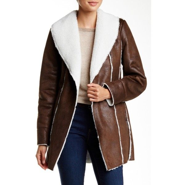 Kenneth Cole New York Faux Shearling Coat ($90) ❤ liked on Polyvore featuring outerwear, coats, brown, faux shearling coat, fur-lined coats, sherpa lined coat, shawl collar coats and sherpa coat