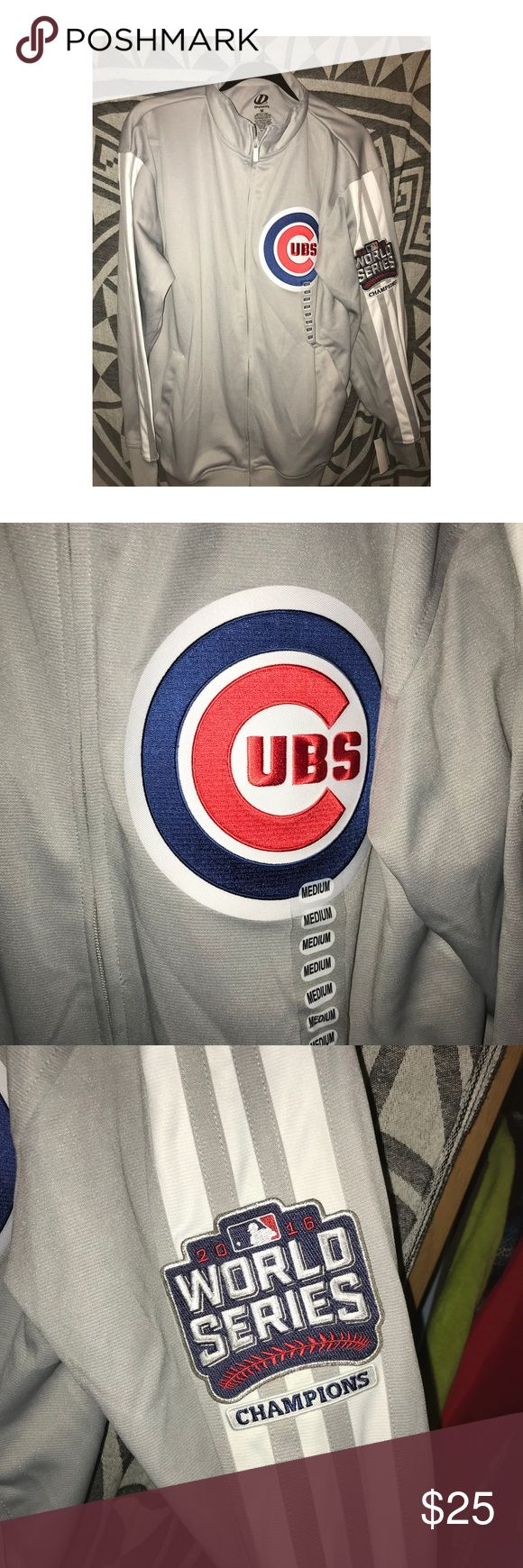 Cubs World Series championship 2016 jacket Brand new grey cubs championship zip up jacket. It had two patches: one is the logo and the other is the World Series logo. It's super cozy and sporty, and any boy or girl would love it dynasty Jackets & Coats