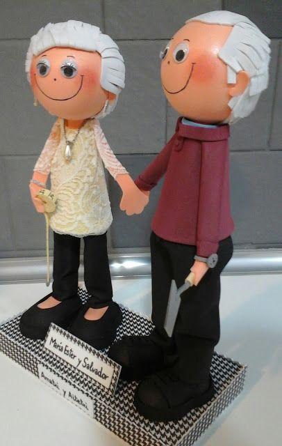 Muñecos Goma Eva. EXPIRUCHAS: Pareja de abuelos, regalo de aniversario