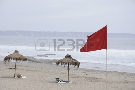 sunshade and red flag