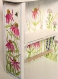 Hand painted white farmhouse towel bar and shelf with hand painted garden flowers is a solid custom made work. Hollyhocks, lace, coneflowers, thistle and some bumblebees are just a few of the cheerful flowers I hand painted on every side.