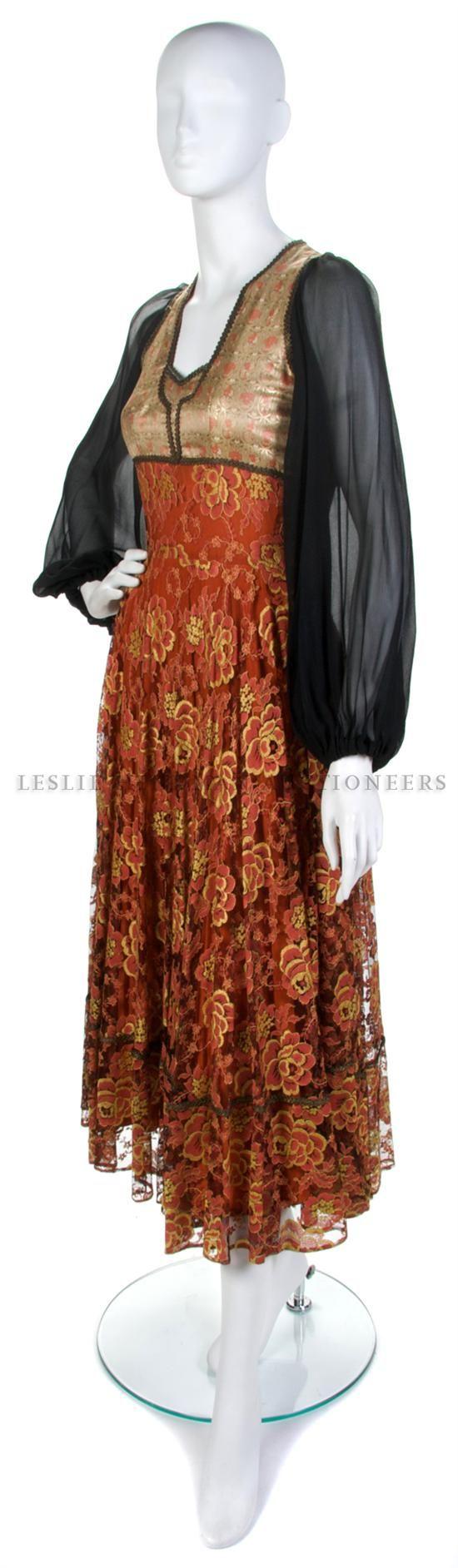 Теа Портер Цветочные Brocade и красные кружева платье, размер 10.