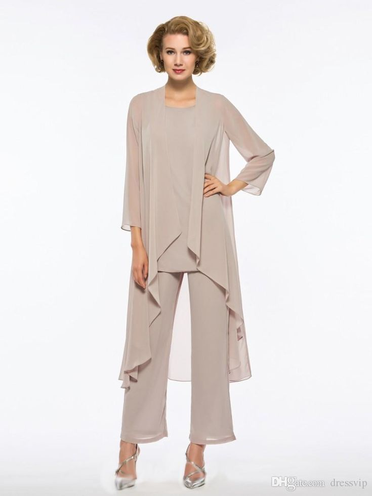 Plus size mother of the bride trouser suit 3 pieces of chiffon for the beach wedding dress mother dress long-sleeved formal dress cheap mothers