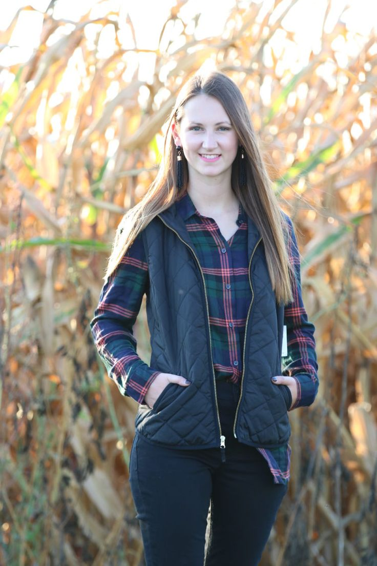 for the love of glitter, fall fashion, black vest, plaid long sleeve, black jeans