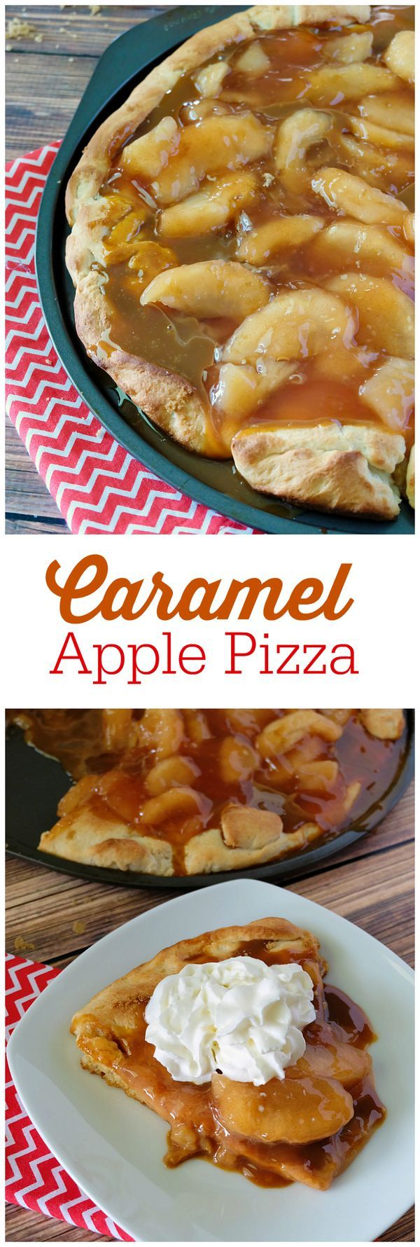 Caramel Apple Pizza--sticky, sweet and so indulgent, this Caramel Apple Pizza recipe is one you will want to make time and again. One of our favorite desserts for sure.