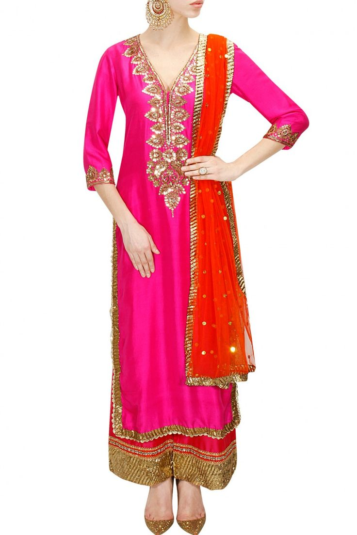 SEEMA KHAN Pink abla work kurta set available only at Pernia's Pop-Up Shop.