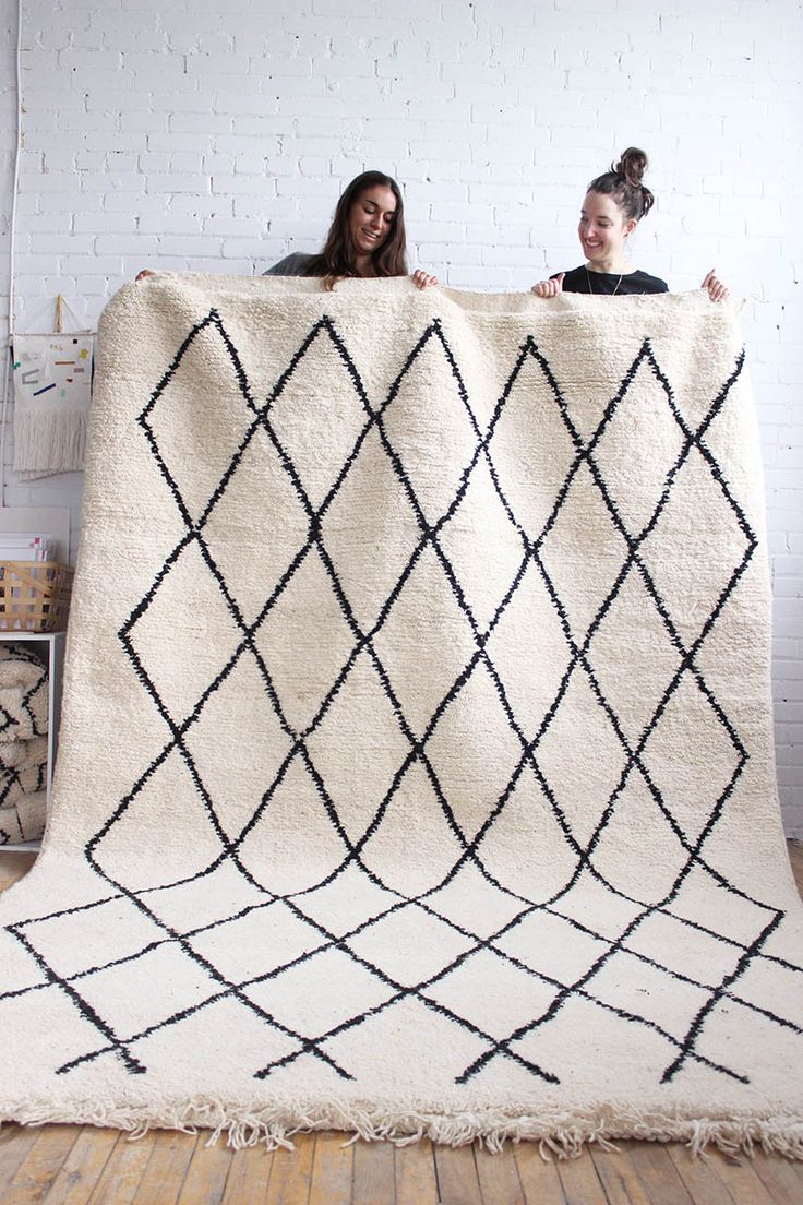 """Beni Ourain Rug, Black & White Moroccan Wool Rug – 6'8"""" x 9'11"""" - From Baba Souk. Ships from Montreal, Canada"""
