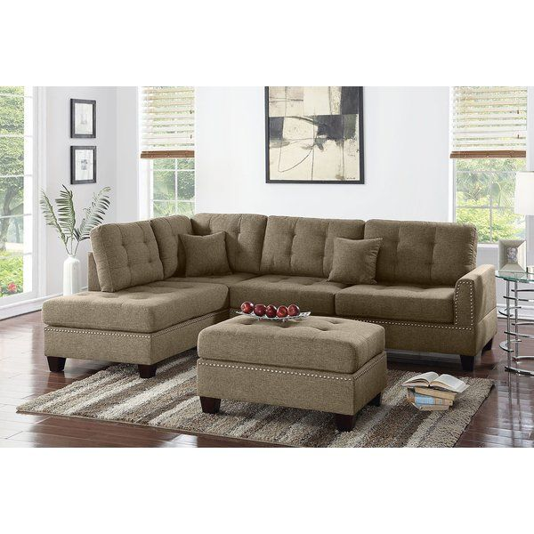 Romulus 104 Wide Reversible Sofa Chaise With Ottoman Upholstered Sectional Sectional Sofa With Chaise Sectional Sofa