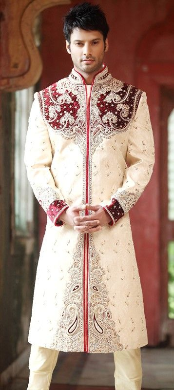 13280, Sherwani, Brasso, Jacquard, Machine Embroidery, Stone, Patch, Thread, White and Off White Color Family