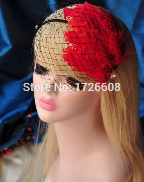 Женщин вязание свадебные красный сети сетки аксессуары для волос перо Fascinators ну вечеринку ободки волос группа наращивание бесплатная доставка