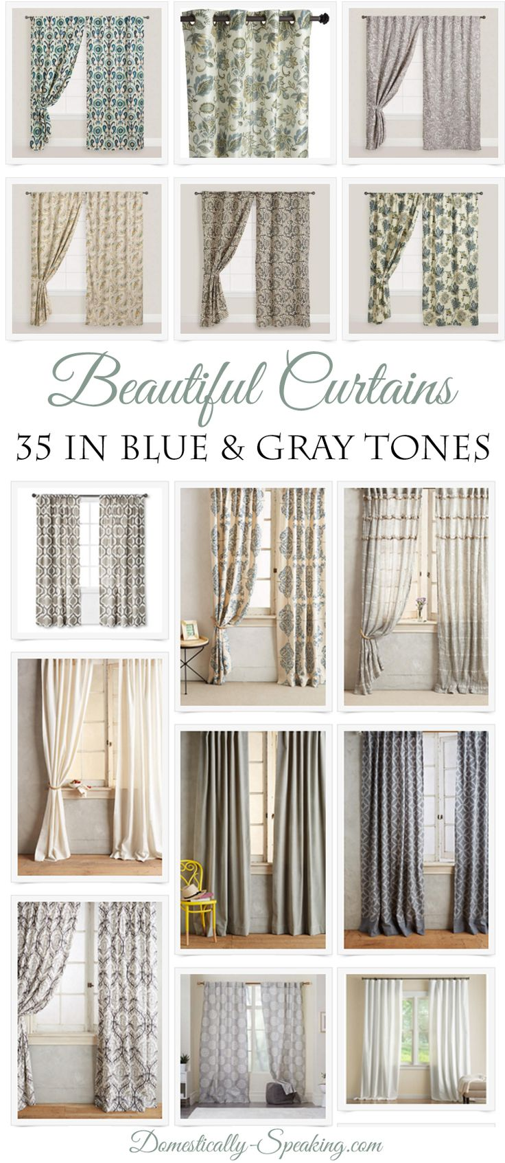 35 Beautiful Curtain ideas for the master bedroom! Calming blue and gray tone curtain panels that are perfect to help create that relaxing retreat you want in your master bedroom