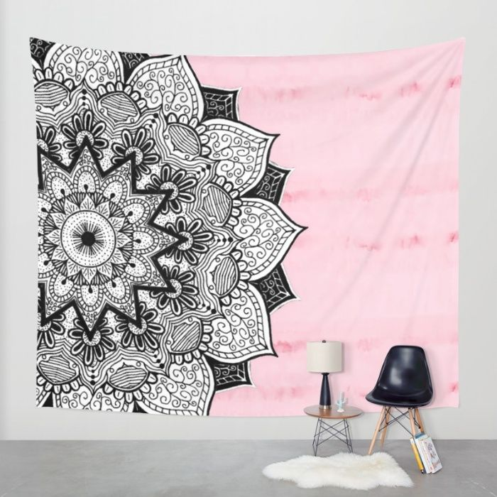 Artistic Boho Hand Drawn Mandala on Pink Tie Dye Wall Tapestry by BlackStrawberry | Society6