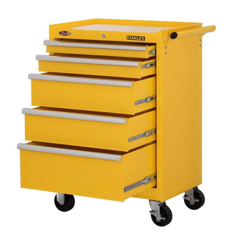 Stanley Rolling 5-Drawer Tool Storage Cabinet Mechanics Mobile ...