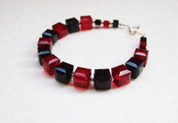 Classic black and red Swarovski crystal bracelet / by DreamyBox