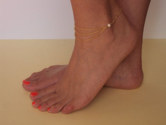 Gold Layered Anklet  Pearl Anklet Gold  Beaded by VasiaAccessories