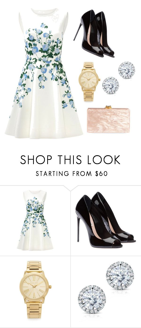 """""""Semi formal or formal outdoor party outfit"""" by nandanuta ❤ liked on Polyvore featuring ERIN Erin Fetherston, Michael Kors, Kobelli and Edie Parker"""