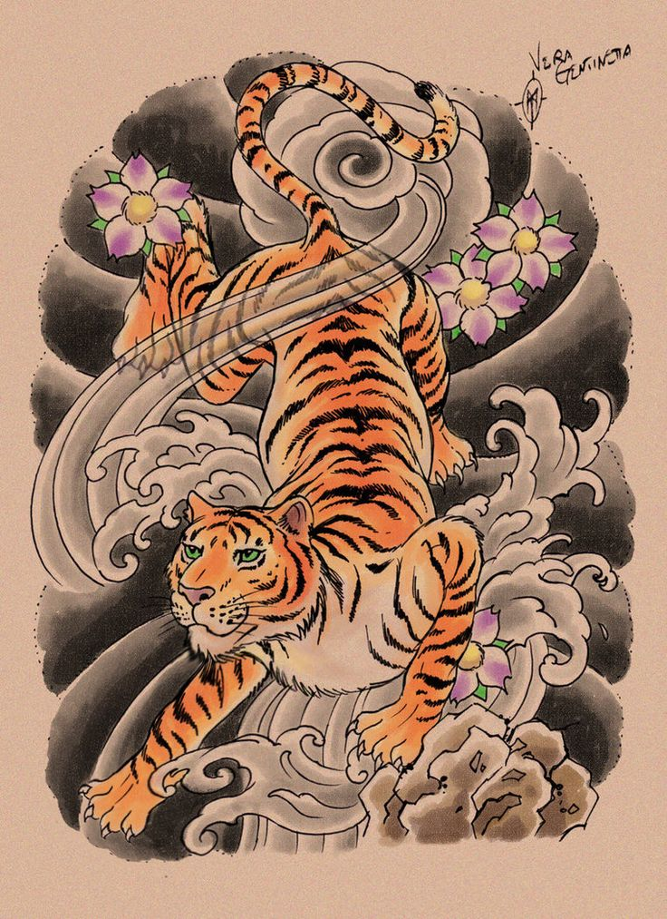 how to draw a tiger tattoo