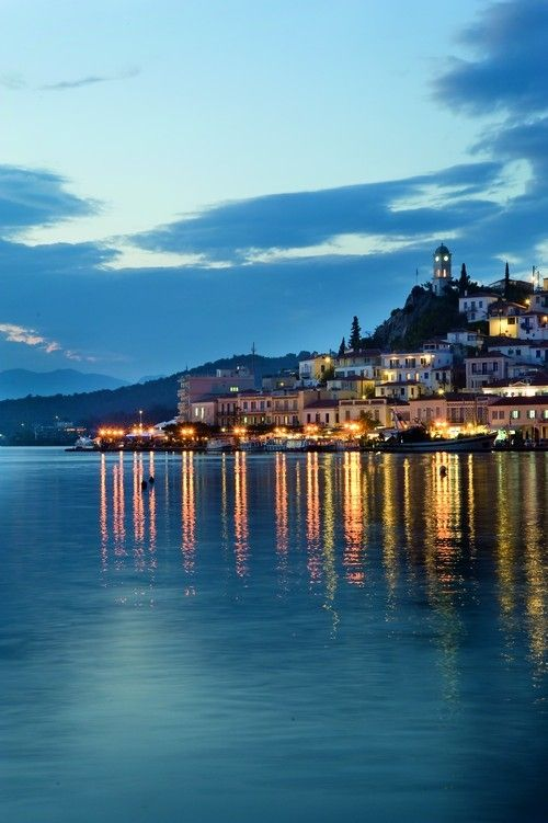 Poros, Greece; I spent a few evenings chasing Angel and Georgette (who were chasing Greek men) along the waterfront