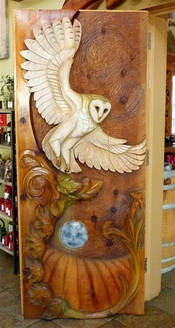 Wood carving door