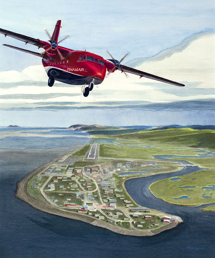 """""""Three Generations""""  Commissioned painting of a Ryan Air Casa 212 departing Unalakleet, Alaska. Ryan Air is an Alaska Native-owned airline operating in Alaska, managed by the third generation of the Ryan family.  Limited edition prints are available as giclées or metal prints."""
