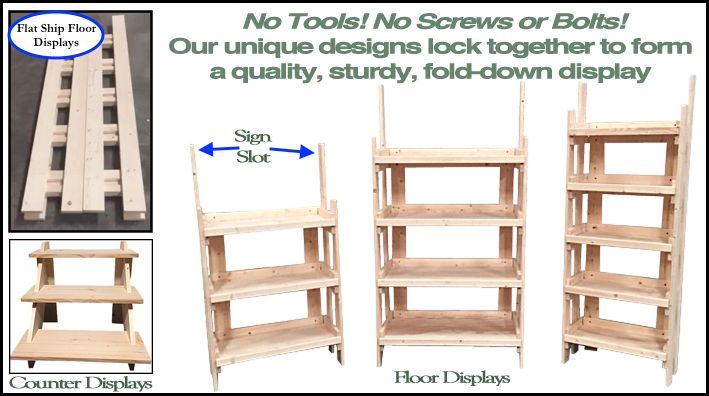 Ship Flat Knock Down Retail Shelves Our Folding Rustic Wood Shelf